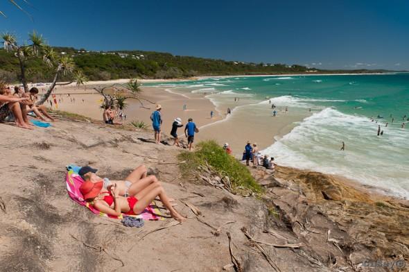 cylinder beach australian sun sand sunbathing