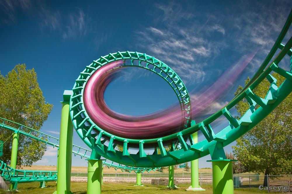 motion blur from a speeding corkscrew ride