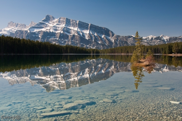 clear water Two Jack Lake reflecting rocky mountains