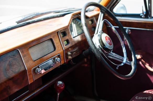 old car interior, wooden interior