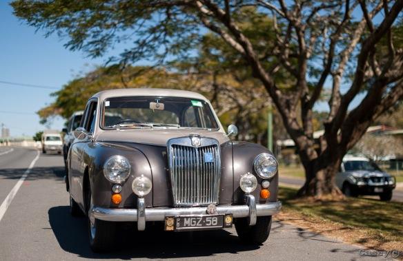 1958 MG Magnette on road portrait
