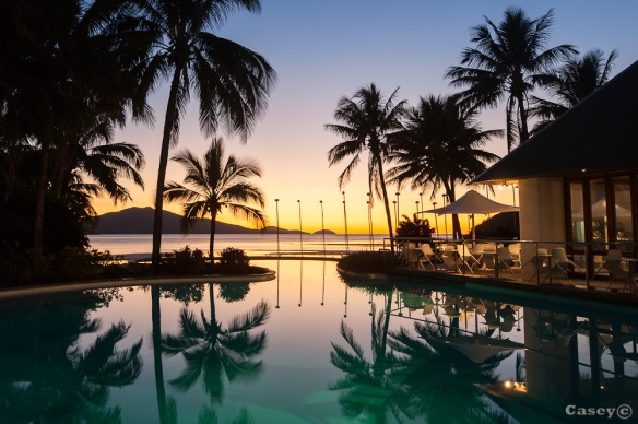 still pool reflecting beautiful colours on Hamilton Island