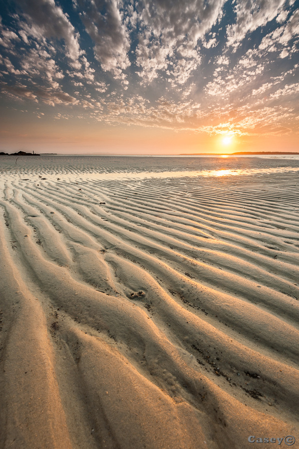 sand texture lines and sunset