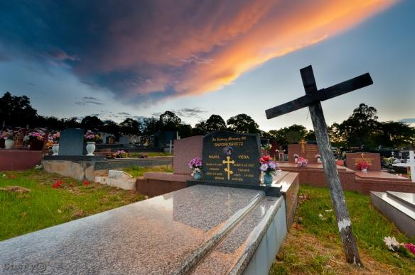 grave sunset