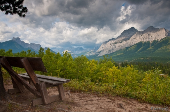 chair with a view of the Rockies