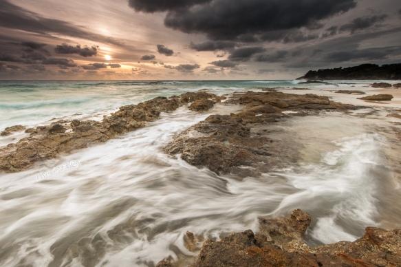 rock flow sunrise seascape